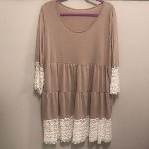 Dresses & Skirts - Adorable Dress! Tan with Lace Accents! XL